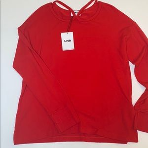 LNA brushed cut out sweater in cherry red